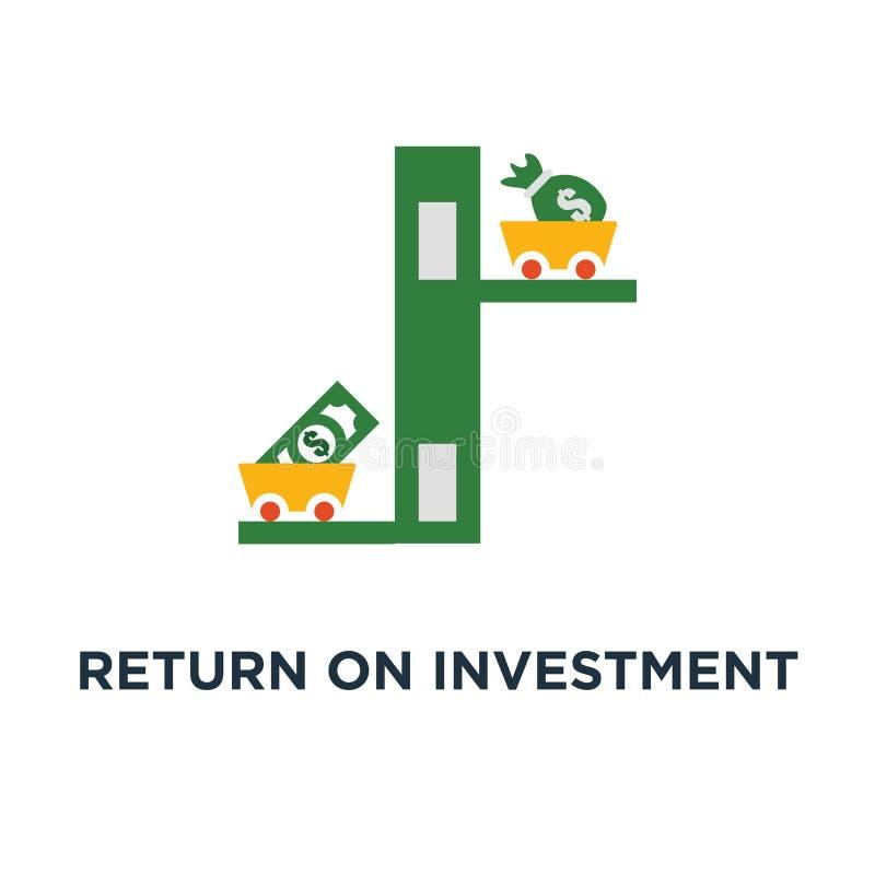Icona di ritorno su investimento crescita di reddito, fondo di investimento mutualistico, a basso rischio, progettazione di simbo illustrazione di stock