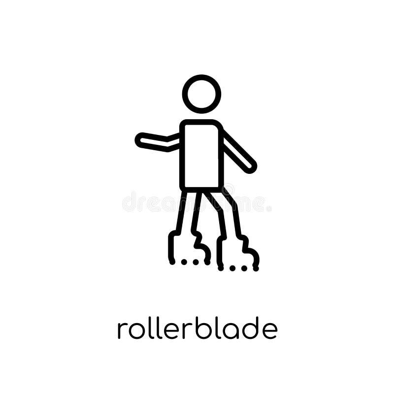 Icona di Rollerblade Rollerblade lineare piano moderno d'avanguardia i di vettore illustrazione vettoriale