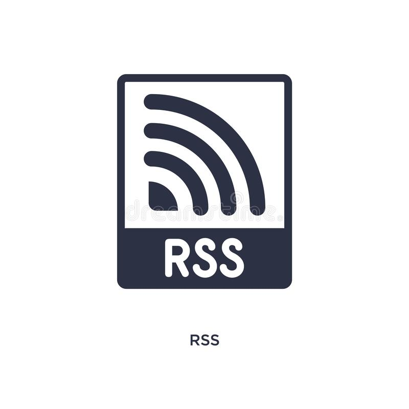 Icona di RSS su fondo bianco Illustrazione semplice dell'elemento dal concetto commercializzante illustrazione vettoriale