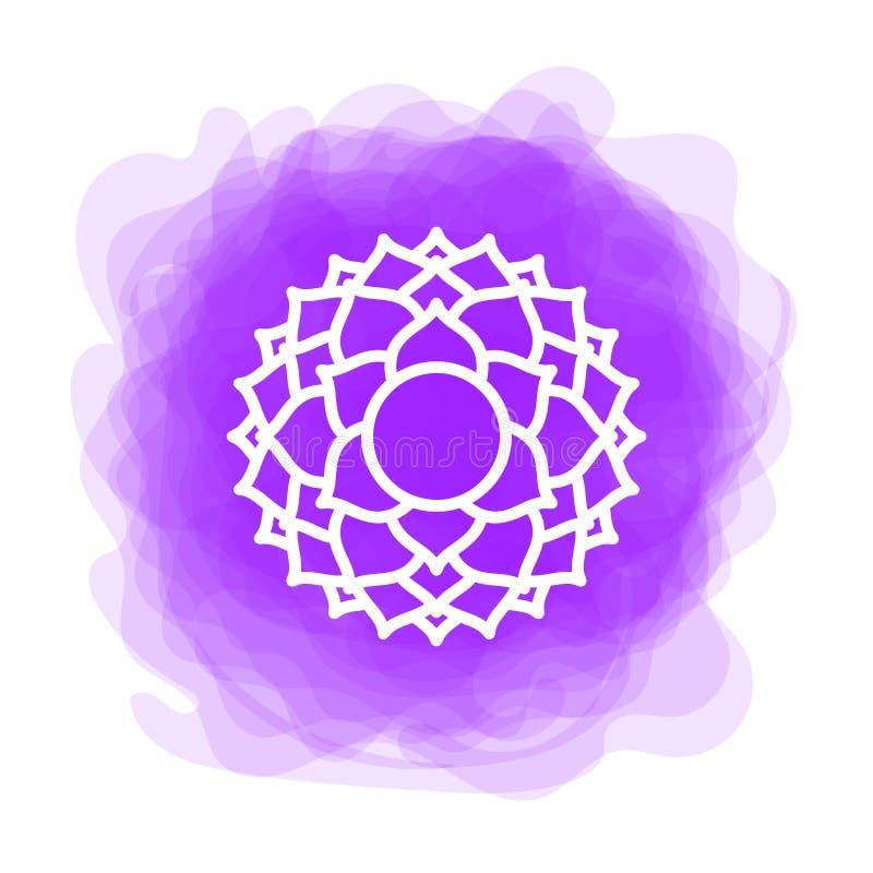 Icona di Sahasrara La settima corona, chakra parietale Cerchio fumoso porpora di vettore Linea simbolo Segno sacrale meditazione royalty illustrazione gratis
