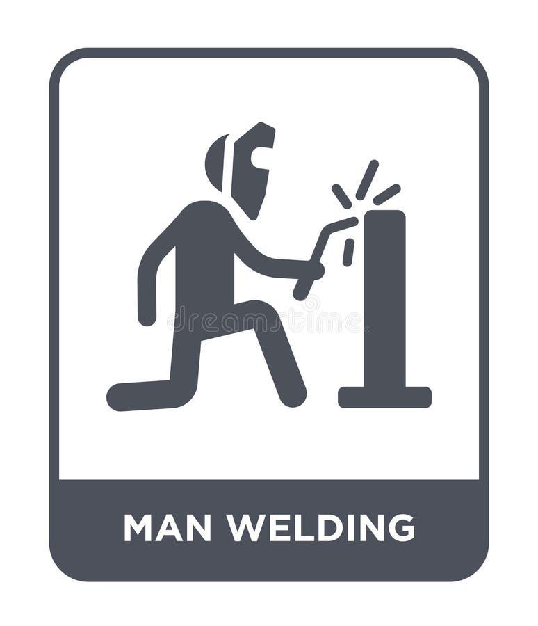 icona di saldatura dell'uomo nello stile d'avanguardia di progettazione icona di saldatura dell'uomo isolata su fondo bianco icon illustrazione di stock