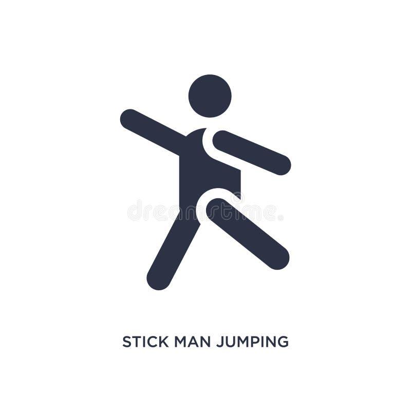 icona di salto dell'uomo del bastone su fondo bianco Illustrazione semplice dell'elemento dal concetto di comportamento illustrazione di stock