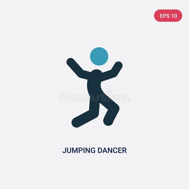 Icona di salto di vettore del ballerino di due colori dal concetto di sport il simbolo di salto blu isolato del segno di vettore  illustrazione vettoriale