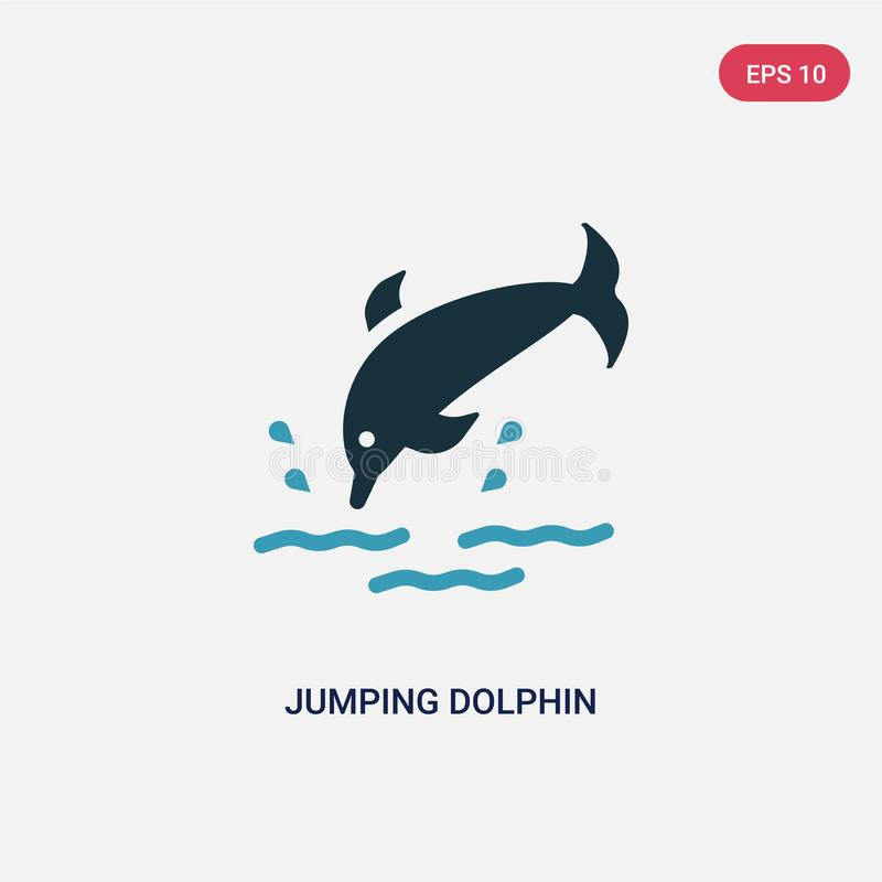 Icona di salto di vettore del delfino di due colori dal concetto di estate il simbolo di salto blu isolato del segno di vettore d illustrazione vettoriale