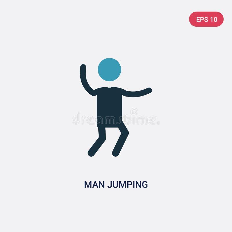 Icona di salto di vettore dell'uomo di colore due dal concetto della gente il simbolo di salto isolato del segno di vettore dell' illustrazione vettoriale