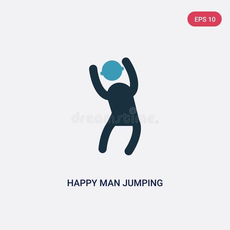 Icona di salto di vettore dell'uomo felice di due colori dal concetto della gente il simbolo di salto isolato del segno di vettor royalty illustrazione gratis