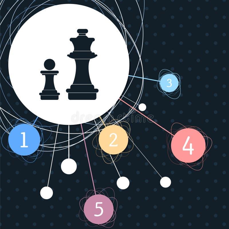 Icona di scacchi con i precedenti al punto e con stile infographic illustrazione vettoriale