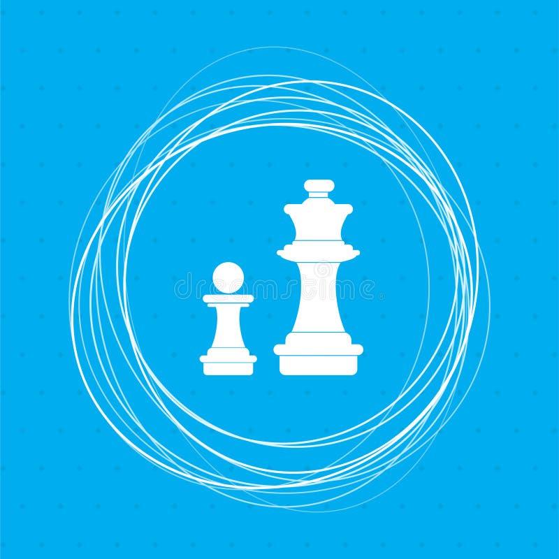 Icona di scacchi su un fondo blu con i cerchi astratti intorno ed il posto per il vostro testo illustrazione di stock