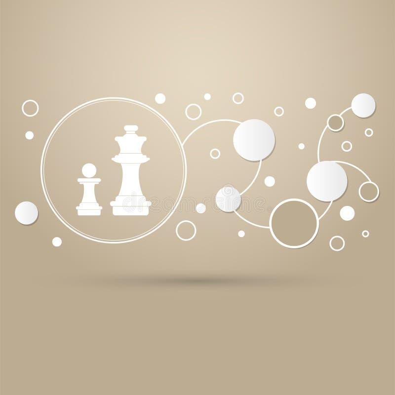 Icona di scacchi su un fondo marrone con stile elegante e progettazione moderna infographic illustrazione vettoriale