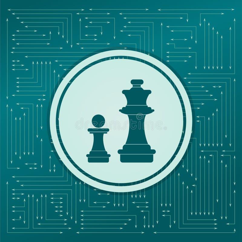 Icona di scacchi su un fondo verde, con le frecce nelle direzioni differenti Compare sul bordo elettronico royalty illustrazione gratis
