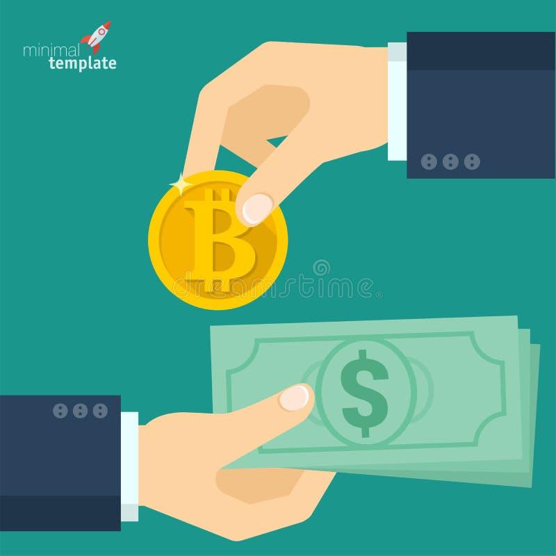 Icona di scambio di Blockchain Bitcoin illustrazione di stock