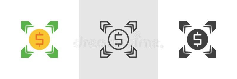 Icona di scambio di soldi del dollaro illustrazione vettoriale