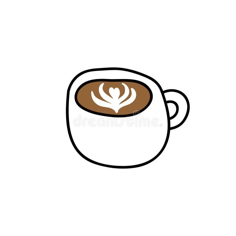 Icona di scarabocchio del cappuccino illustrazione vettoriale