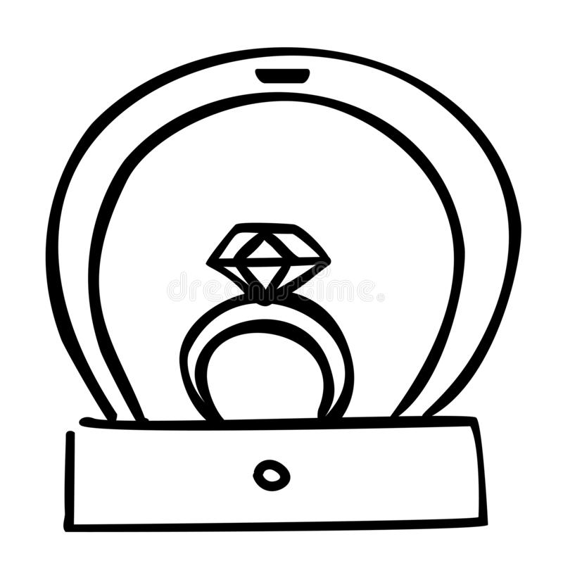 Icona di scarabocchio dell'anello di vettore del diamante di nozze, autoadesivo illustrazione di stock