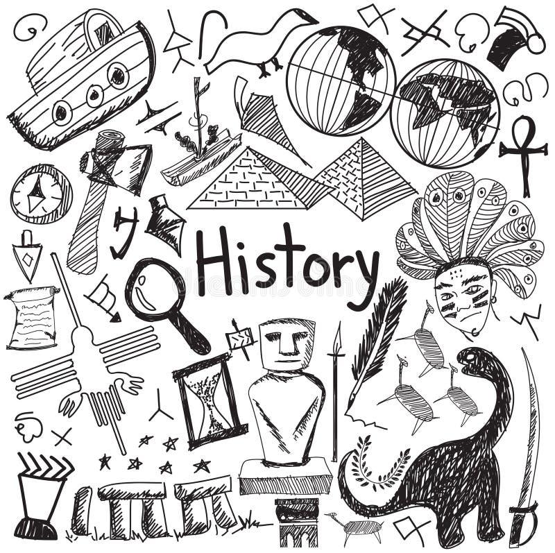 Icona di scarabocchio della scrittura dell'oggetto di istruzione di storia illustrazione vettoriale