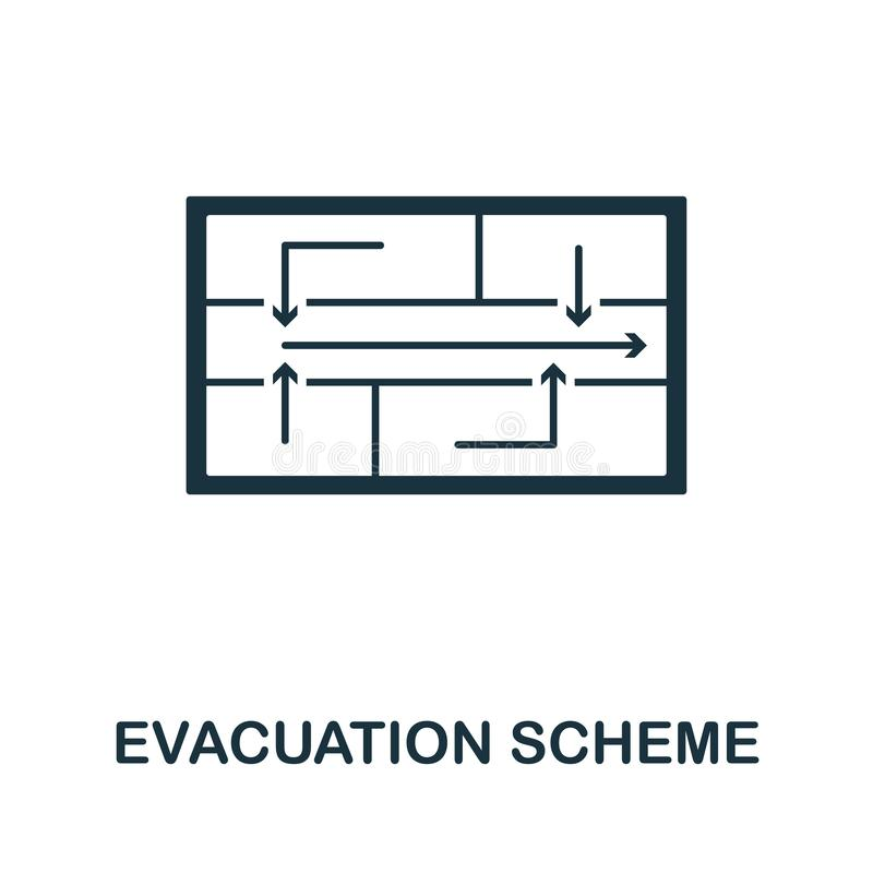 Icona di schema dell'evacuazione Progettazione creativa dell'elemento dalla raccolta delle icone di protezione antincendio Icona  illustrazione di stock