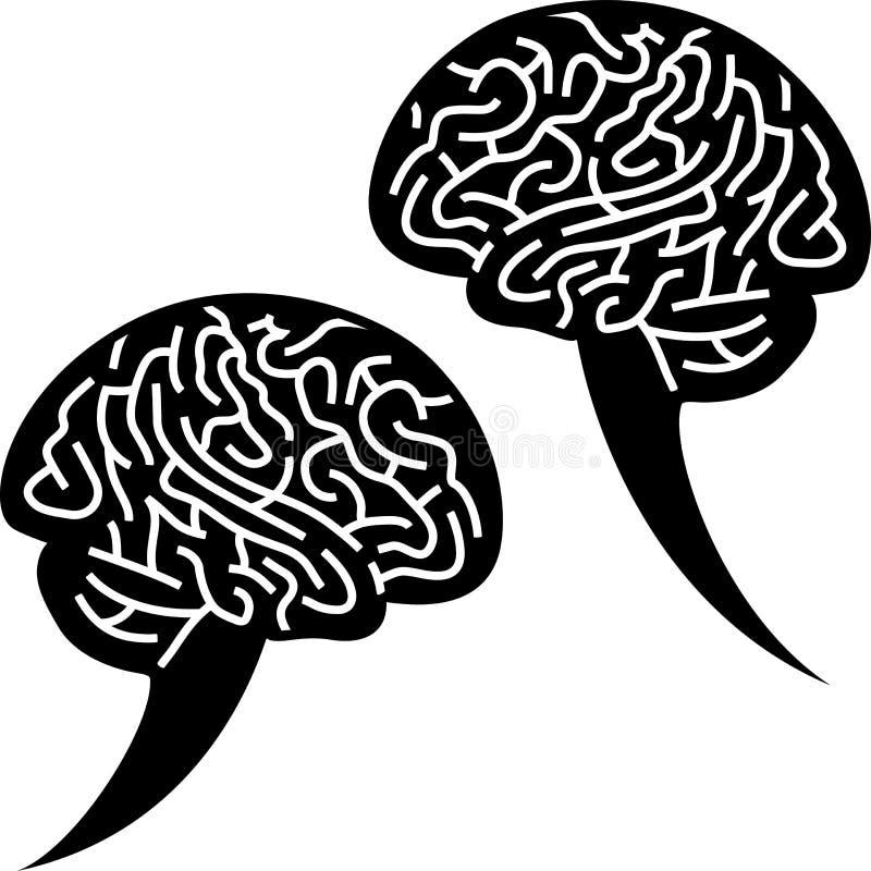 Icona di schiamazzo del cervello Due bolle di conversazione con forma illustrazione vettoriale