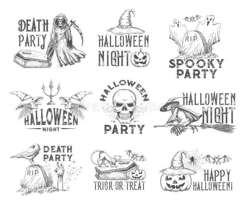 Icona di schizzo del partito di notte di festa di Halloween royalty illustrazione gratis