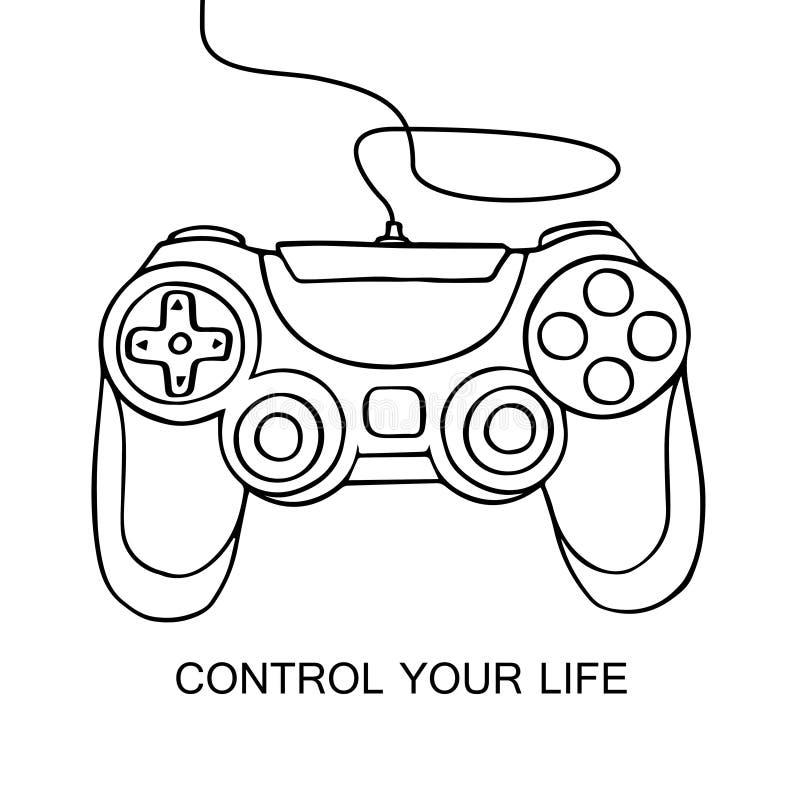 Icona di schizzo di Gamepad Illustrazione disegnata a mano di vettore isolata su fondo bianco Controlli il vostro concetto di vit illustrazione vettoriale