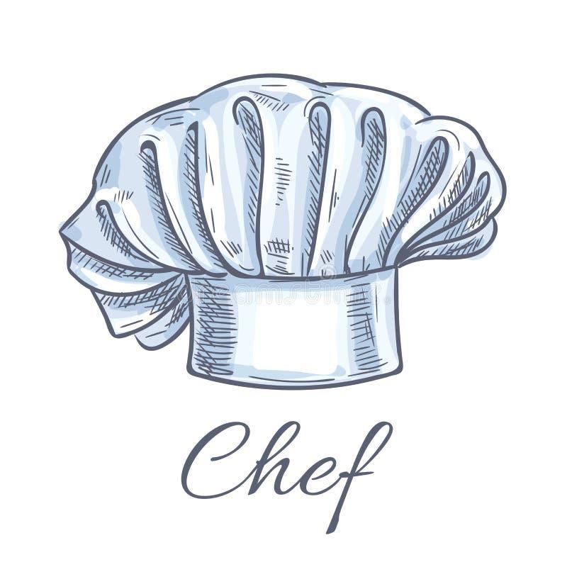 Icona di schizzo di scarabocchio di vettore del cappello del cuoco unico illustrazione vettoriale