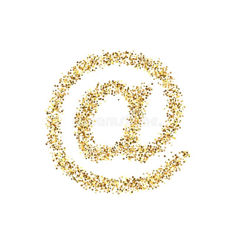 Icona di scintillio dell'oro del email isolata su fondo Illustrazione creativa per il web, coriandoli leggeri di concetto di arte illustrazione vettoriale