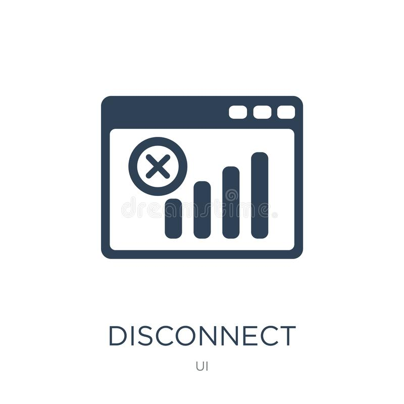 icona di sconnessione nello stile d'avanguardia di progettazione icona di sconnessione isolata su fondo bianco icona di vettore d illustrazione di stock