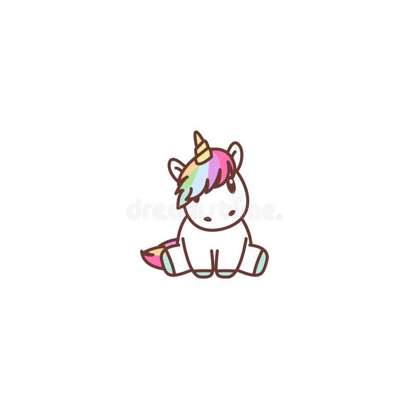 Icona di seduta del fumetto dell'unicorno sveglio, illustrazione di vettore royalty illustrazione gratis