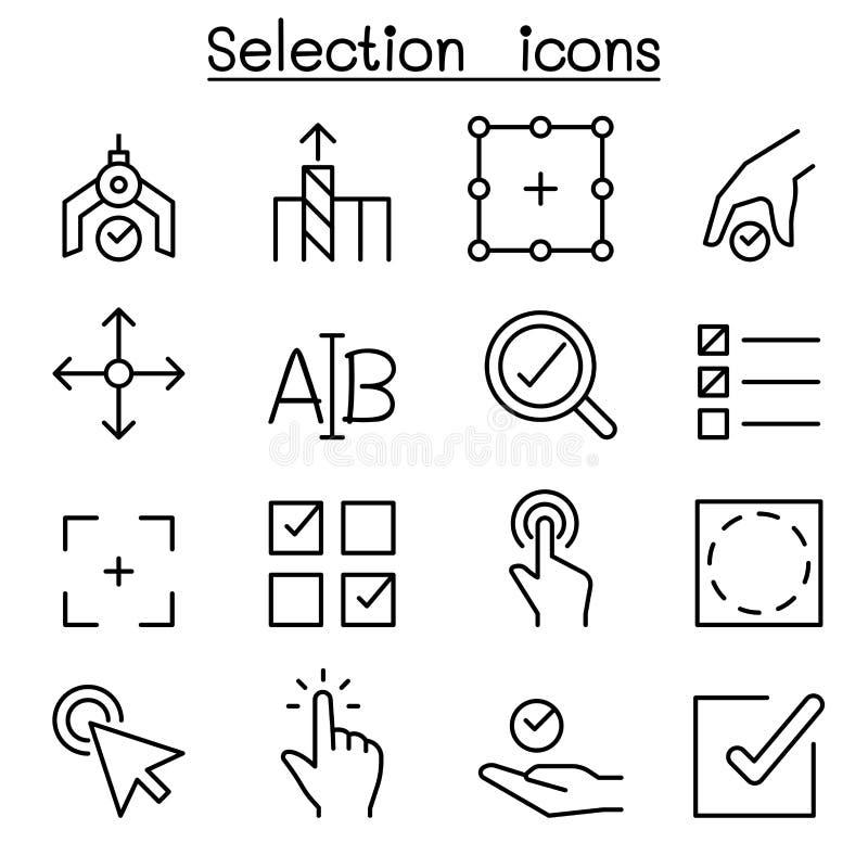Icona di selezione messa nella linea stile sottile illustrazione vettoriale