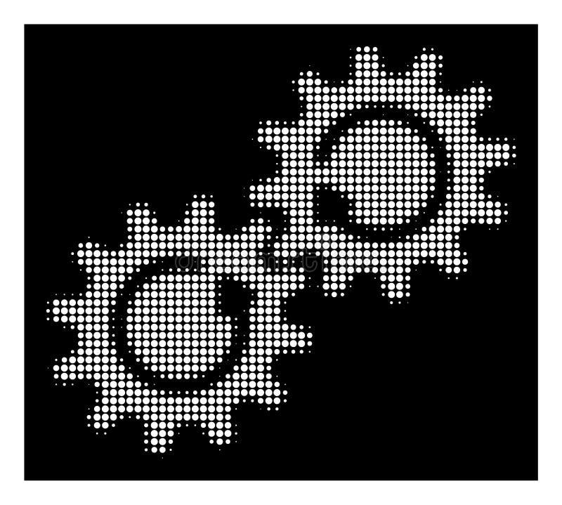 Icona di semitono bianca di rotazione del meccanismo di ingranaggio illustrazione vettoriale