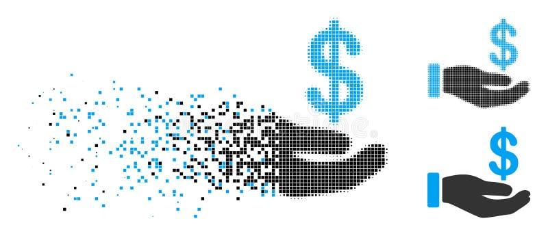 Icona di semitono di dissoluzione della mano dei guadagni del pixel illustrazione vettoriale