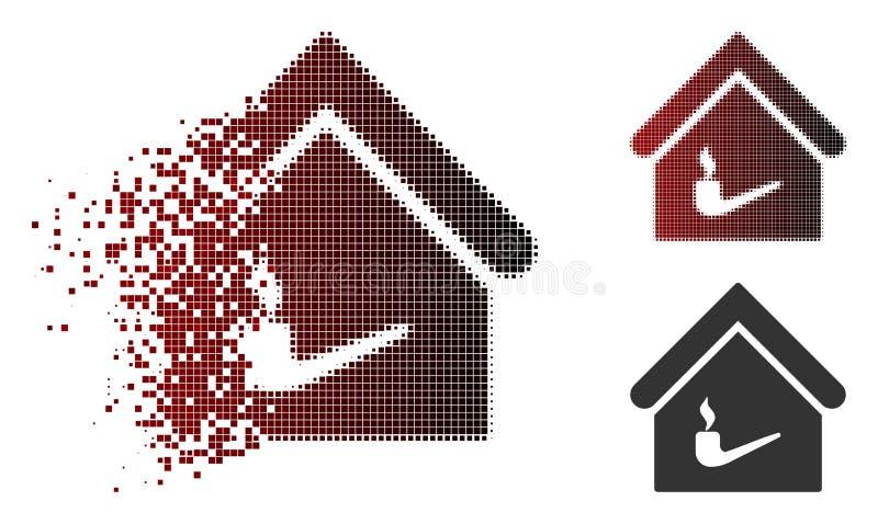 Icona di semitono di dissoluzione della stanza di fumo di Pixelated illustrazione di stock