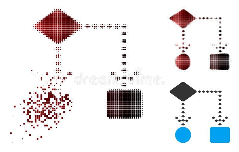 Icona di semitono di dissoluzione di schema di algoritmo del pixel royalty illustrazione gratis