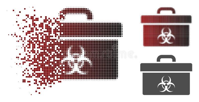 Icona di semitono muoventesi della cassetta portautensili di rischio biologico di Pixelated illustrazione di stock