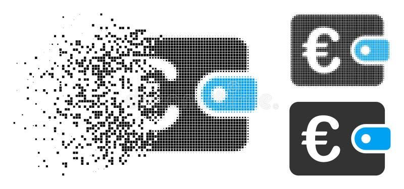 Icona di semitono rotta della borsa di Pixelated euro illustrazione di stock