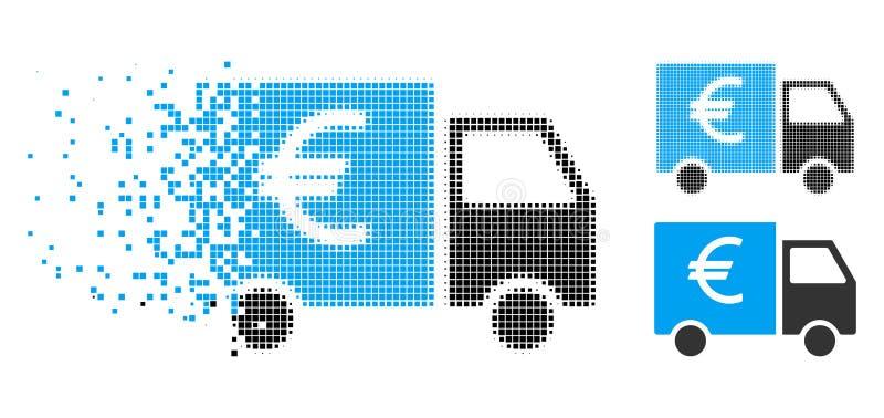 Icona di semitono di scomparsa del camion di Pixelated euro illustrazione vettoriale