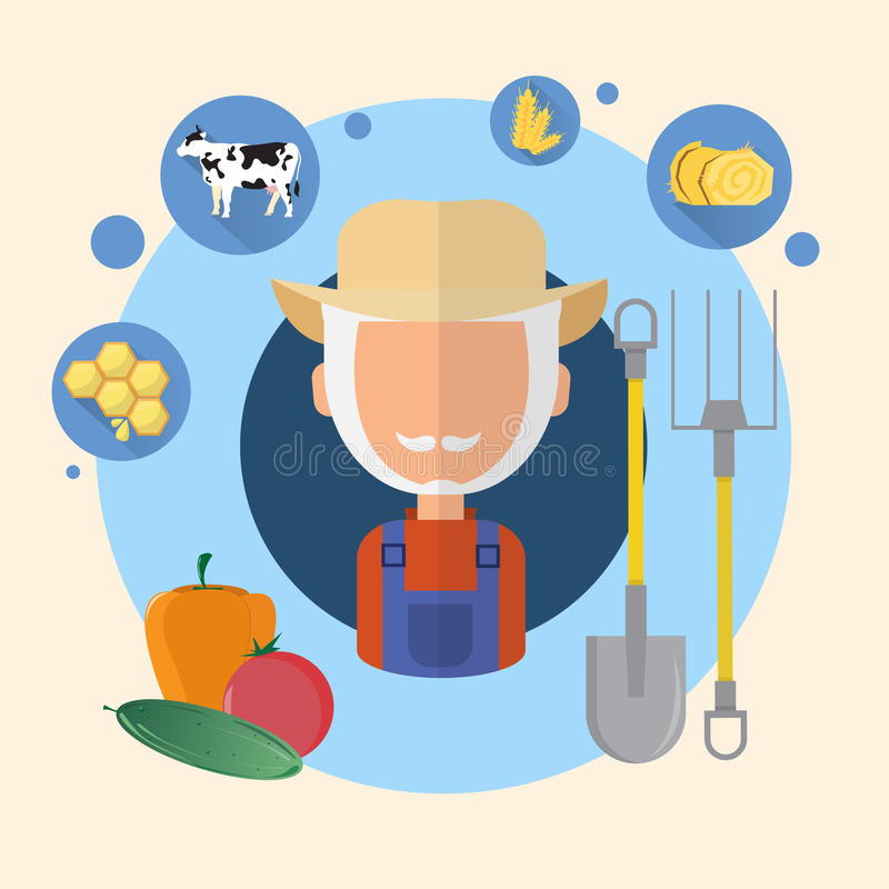 Icona di Senior Man Agriculture dell'agricoltore illustrazione vettoriale