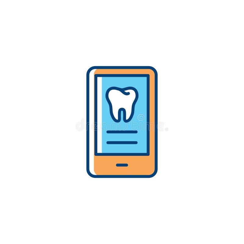 Icona di servizi dentari per l'applicazione mobile, il dente variopinto e le icone del telefono Linea arte sottile di cure odonto illustrazione di stock