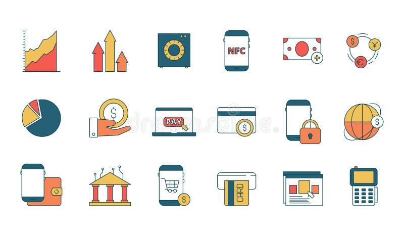 Icona di servizi online di finanza E-banking con i simboli lineari di vettore di affari di web di pagamento di transazione di Int royalty illustrazione gratis