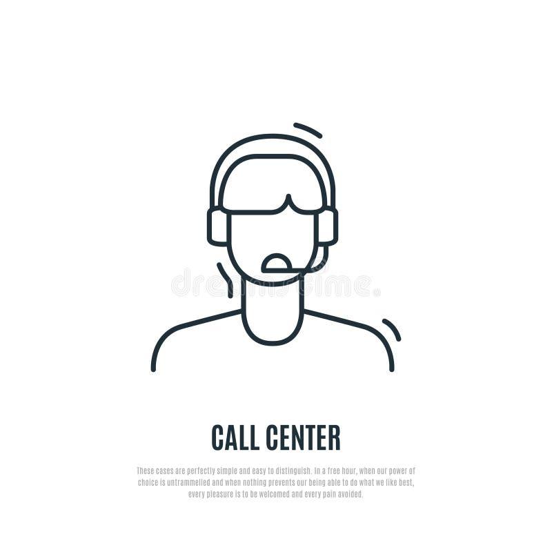 Icona di servizio di assistenza al cliente Responsabile del centro del contatto con la cuffia illustrazione di stock