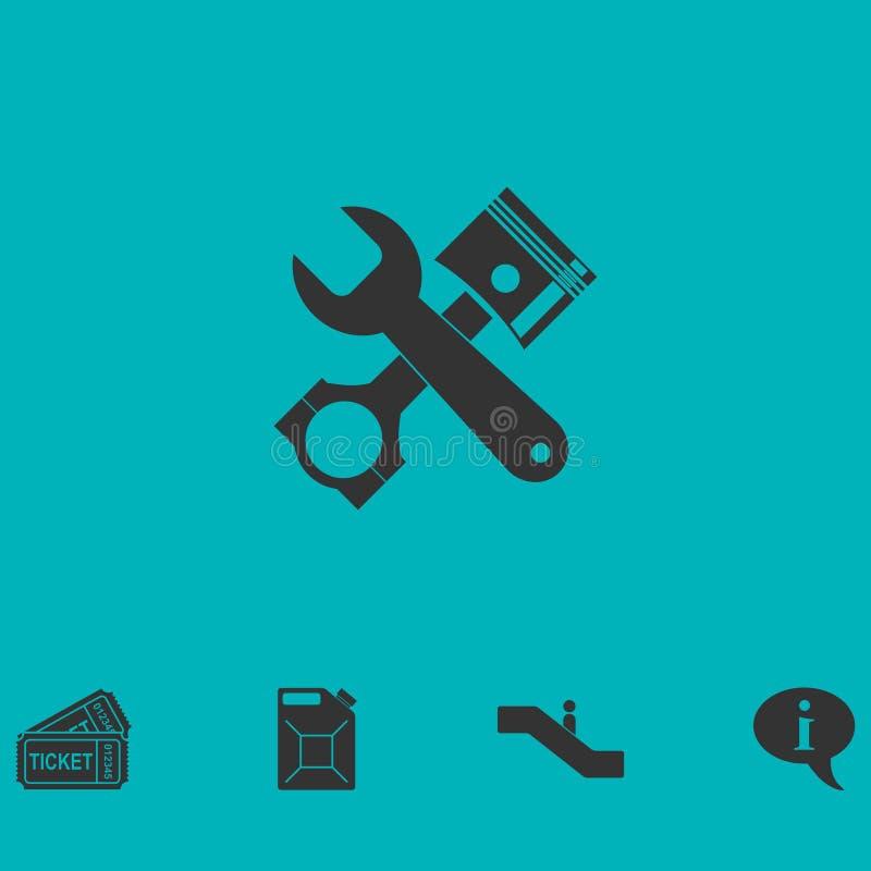 Icona di servizio dell'automobile pianamente illustrazione vettoriale