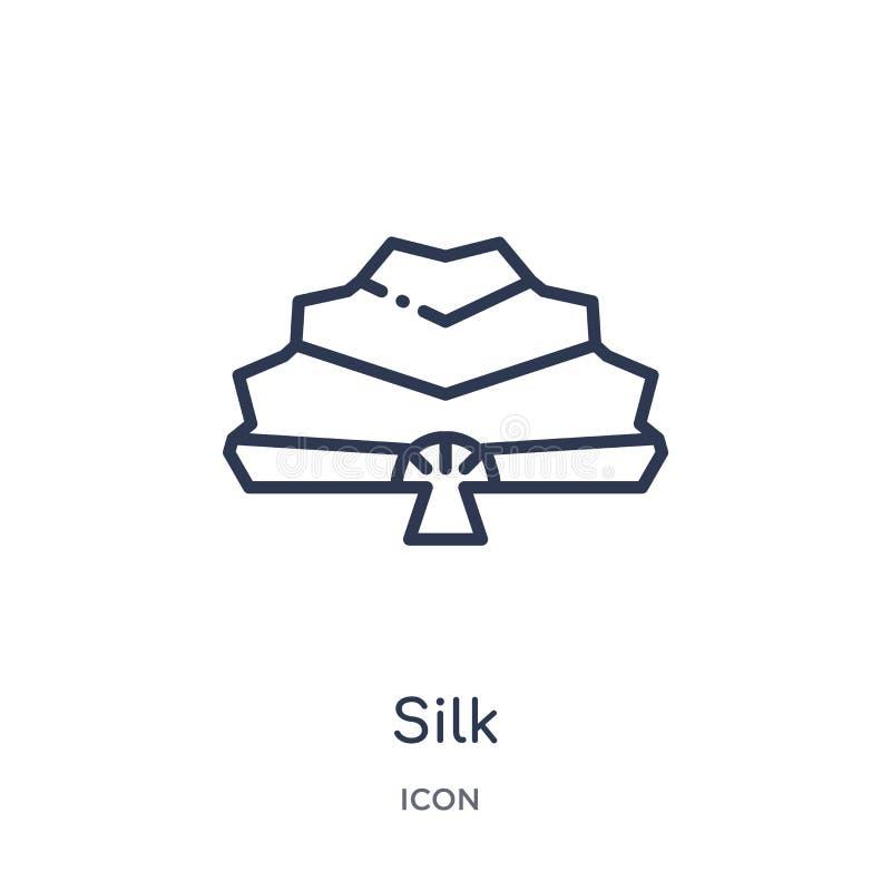 Icona di seta lineare dalla raccolta asiatica del profilo Linea sottile vettore di seta isolato su fondo bianco illustrazione d'a illustrazione di stock