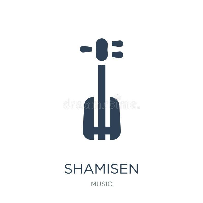icona di shamisen nello stile d'avanguardia di progettazione icona di shamisen isolata su fondo bianco piano semplice e moderno d illustrazione vettoriale