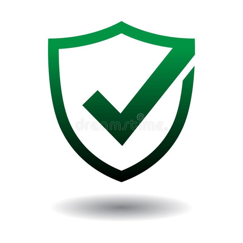 Icona di sicurezza dello schermo del segno di spunta su bianco illustrazione di stock