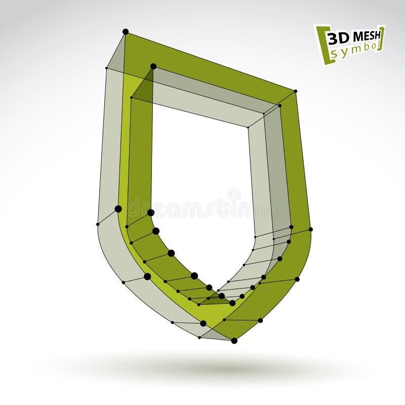 icona di sicurezza di verde del tessuto a maglia 3d illustrazione vettoriale