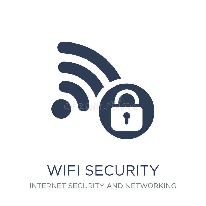 Icona di sicurezza di Wifi Icona piana d'avanguardia di sicurezza di Wifi di vettore sul whi illustrazione vettoriale