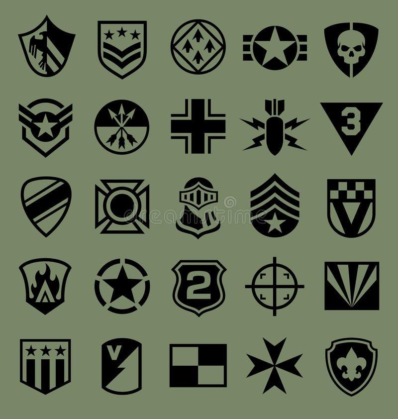 Icona di simboli militari messa su verde illustrazione di stock