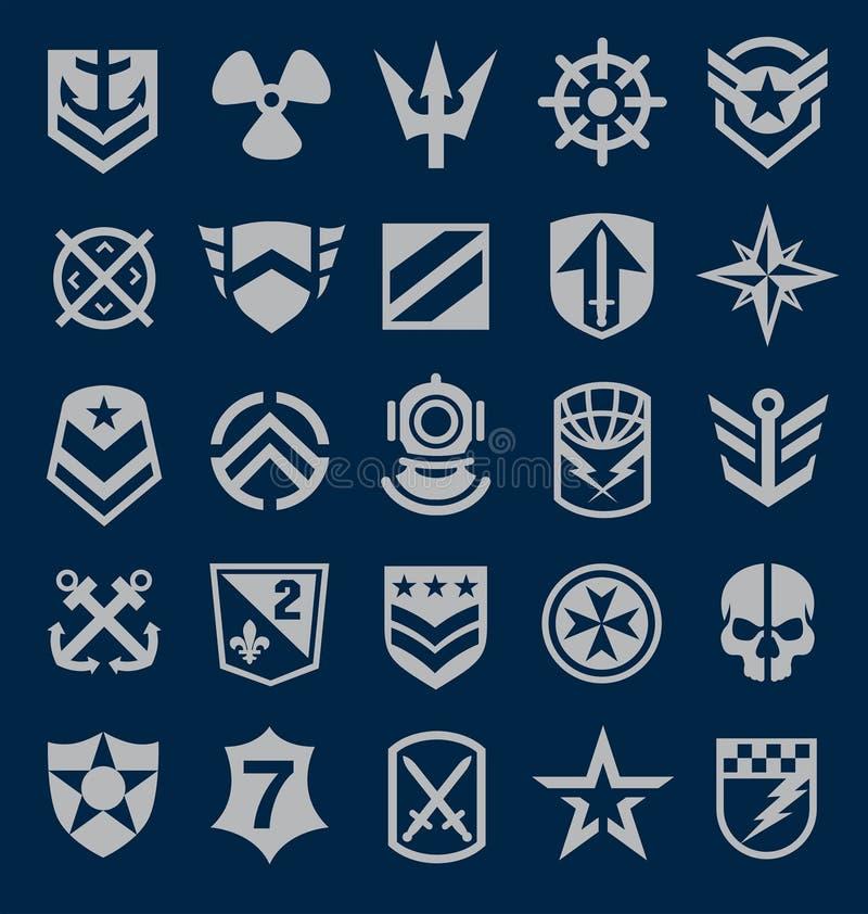 Icona di simboli militari messa sui blu navy illustrazione di stock