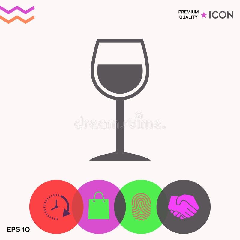 Icona di simbolo del bicchiere di vino illustrazione di stock