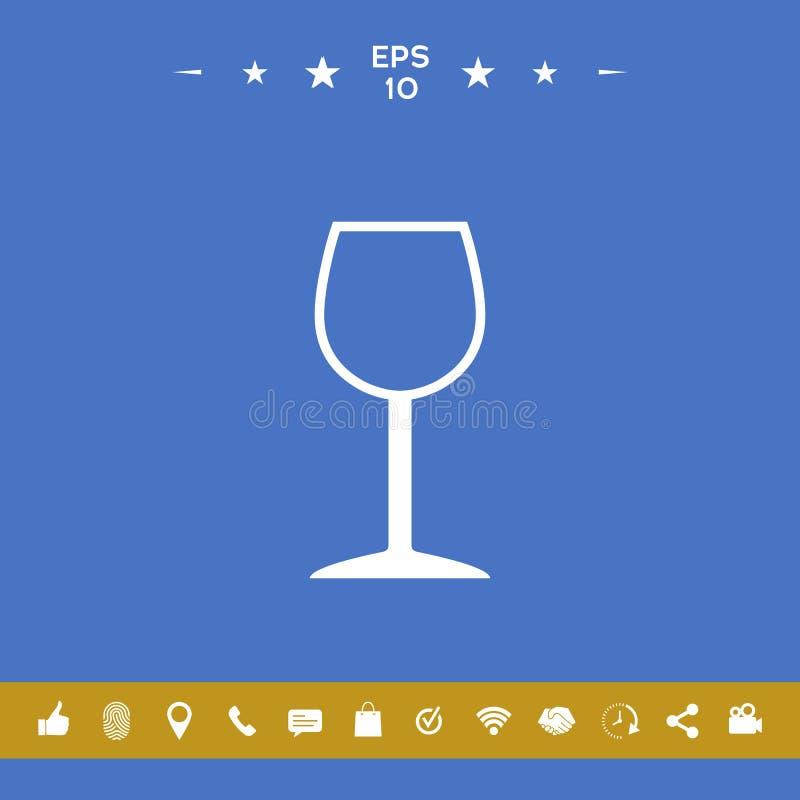 Icona di simbolo del bicchiere di vino illustrazione vettoriale