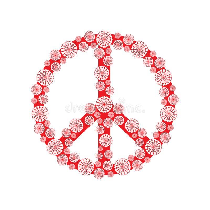 Icona di simbolo del fiore di pace isolata su fondo bianco illustrazione di stock